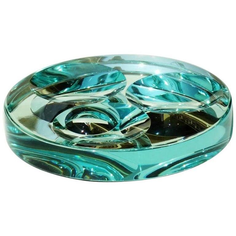 Fontana Arte Mirrored Crystal Italian Design, 1960s Ashtray Bowl