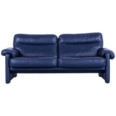 De Sede DS 70 Designer Sofa Navy Blue Leather Two-Seat Couch Switzerland