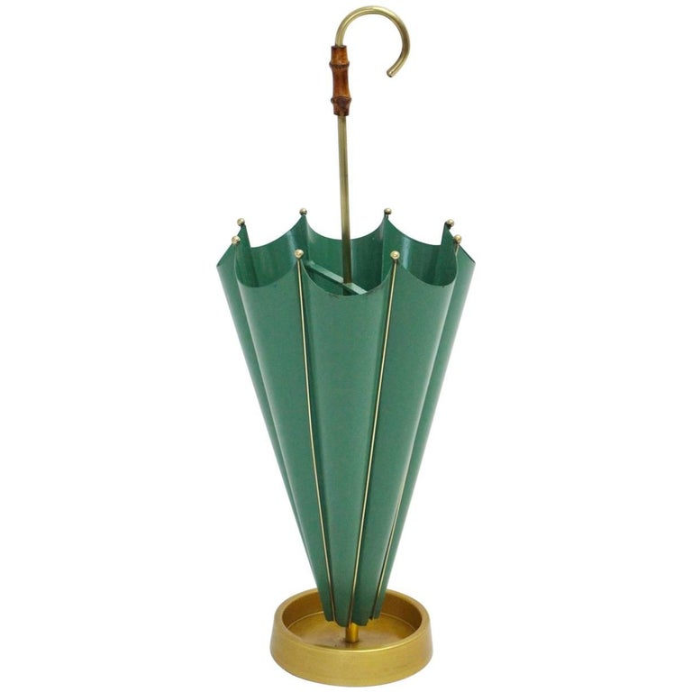 Green Mid Century Modern Vintage Umbrella Stand, 1950s, Italy For Sale
