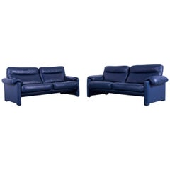 De Sede DS 70 Designer Sofa Set Navy Blue Leather Two Two-Seat Couch Switzerland