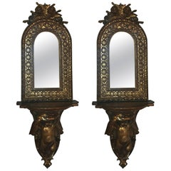 Pair of Continental Giltwood and Mirrored Sconces