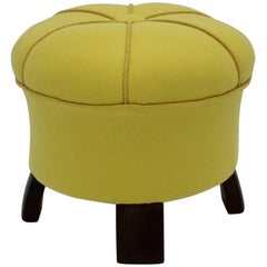 Yellow Art Deco Era Pouf Austria, 1930s