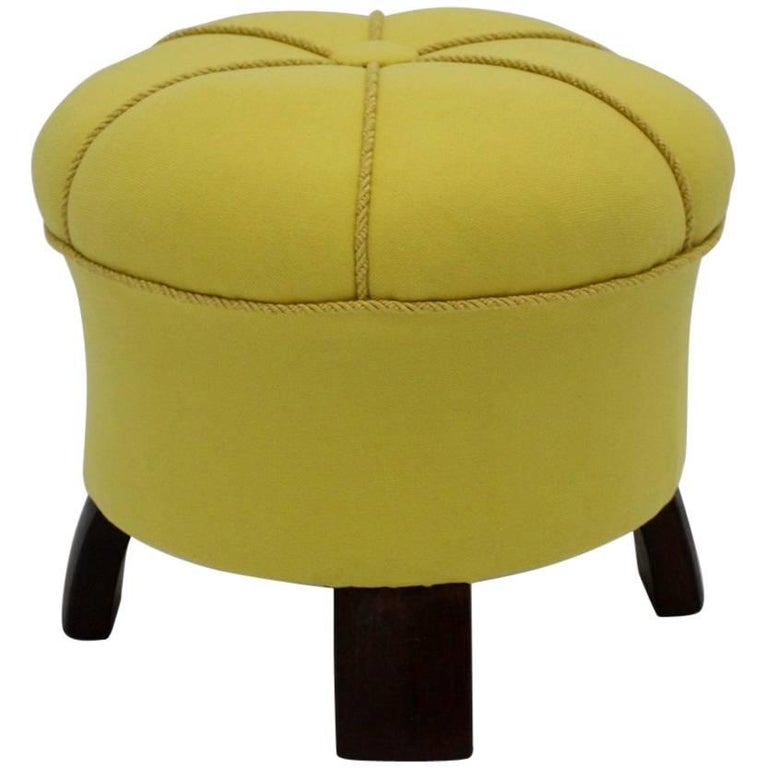 Art Deco Normandy Ottoman In Grey Mohair And Gilt