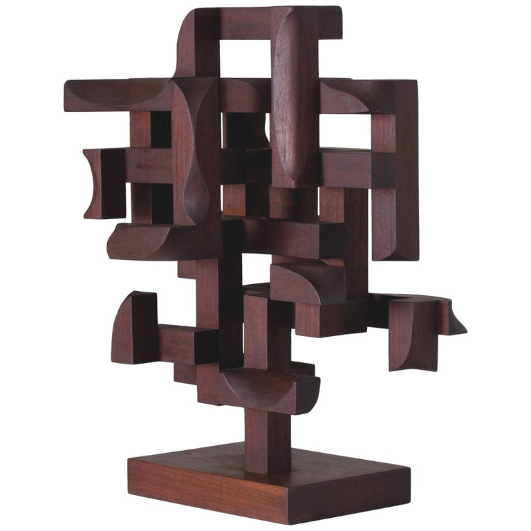 """Mario Dal Fabbro, """"Construction N. 5"""" Wood Sculpture, United States, 1970"""
