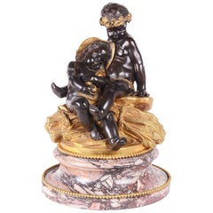 Classical 19th Century Bronze Study of Children Resting, Signed Pigalle