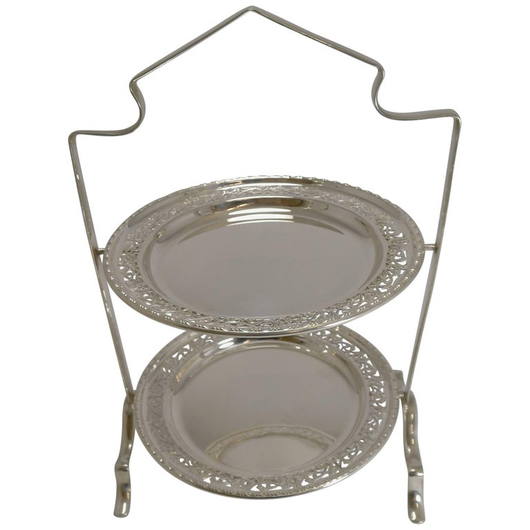 Antique English Silver Plated Cake Stand, circa 1900 For Sale