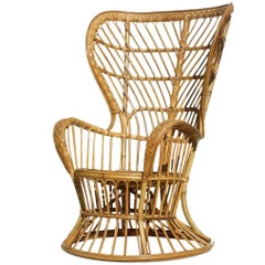 Lio Carminati Gio Ponti Wicker Bamboo Rattan Design Midcentury Peacock Armchair