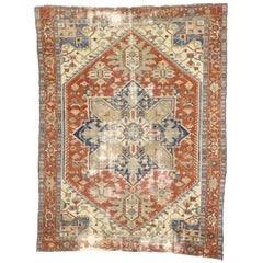 Distressed Antique Persian Heriz Serapi Rug with Edwardian Manor House Style