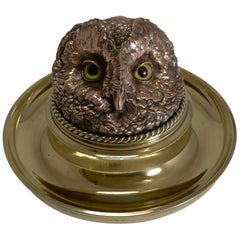 Rare Mammoth English Victorian Novelty Inkwell, Owl with Glass Eyes, circa 1880