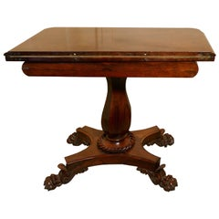 Superb William IV Walnut Folding Games or Card Table