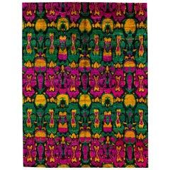 Colorful Vibrant Indian Sari Silk Rug