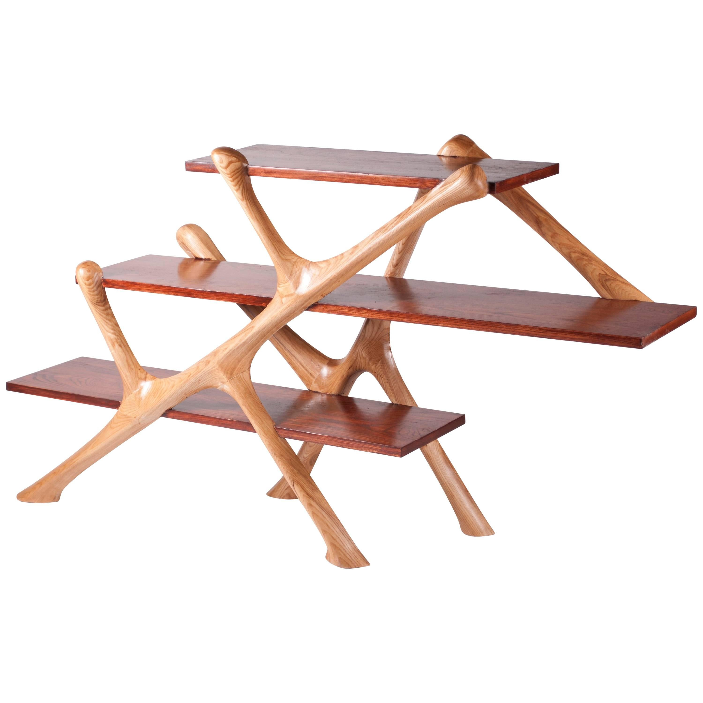 Amorph Ziggurat Bookshelf solid wood,  walnut and natural stained