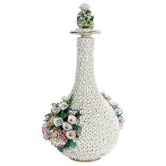 Antique Paris Porcelain Flower Encrusted or Schneeballen Bottle by Jacob Petit