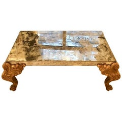 Mirrored Glass Coffee Table with Carved Wooden Gold Legs, 1900s