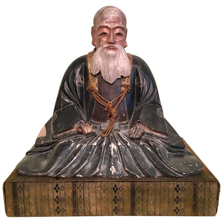Giltwood Carved Noble Elder For Sale