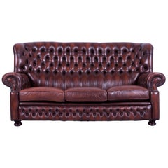 Chesterfield Sofa Brown Leather Three-Seat Couch Vintage Retro Rivets