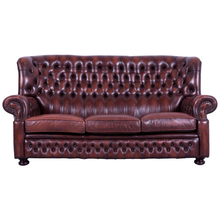 Chesterfield Sofa Brown Leather Three Seat Couch Vintage Retro