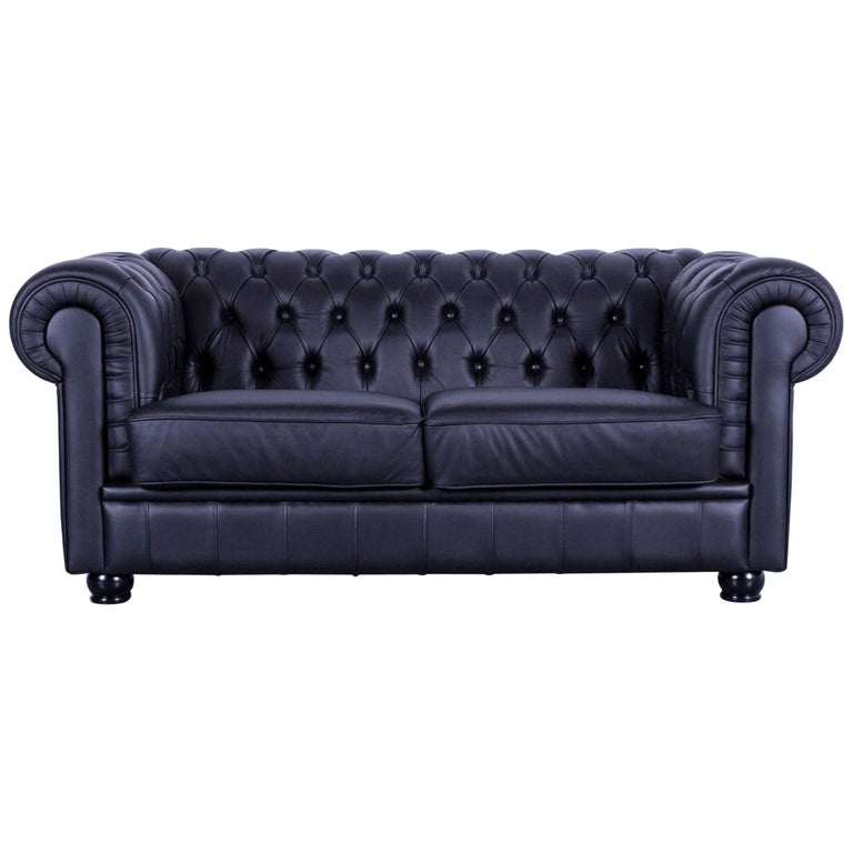 Max Winzer Chesterfield Sofa Black Leather Two Seat Couch