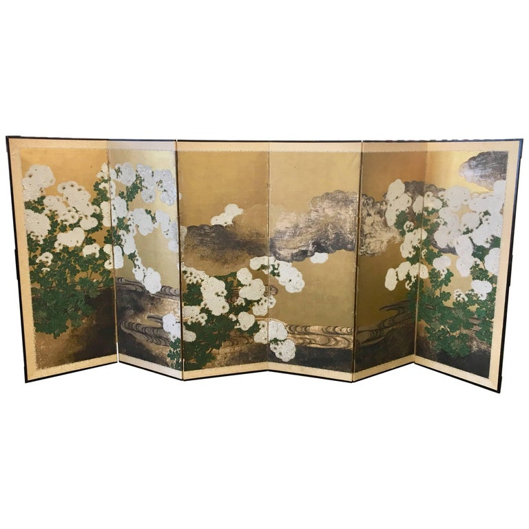 Six-Panel 19th Century Japanese Screen For Sale