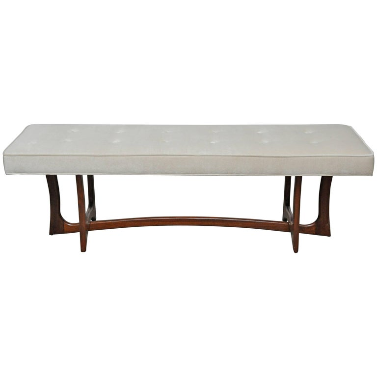 Sculptural Walnut Bench with Cream Upholstery, Adrian Pearsall For Sale