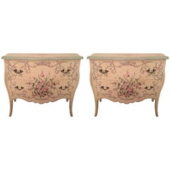 Pair of Charming Hand-Painted Italian Chest of Drawers Commodes