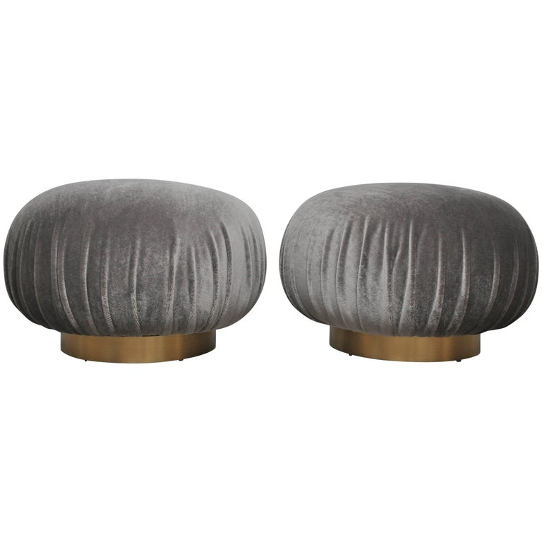 Pair of Adrian Pearsall Swivel Pouf Ottomans on Brushed Brass Bases