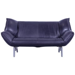 Leolux Tango Designer Leather Sofa Grey Violet Black Two-Seat Couch Function