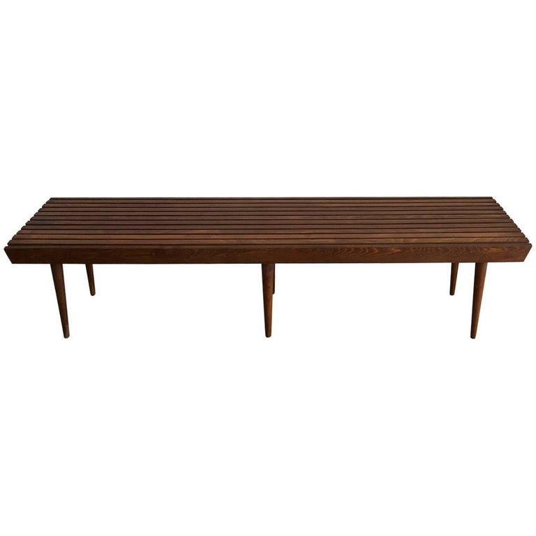 Midcentury Walnut Slat Bench or Coffee Table with Peg Legs