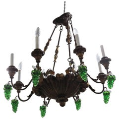 Italian Tole and Crystal Chandelier
