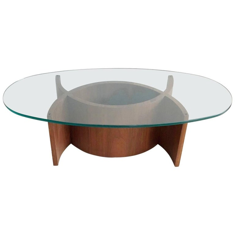 Midcentury Curved Sculptural Walnut and Glass Coffee Table