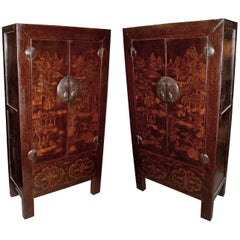 Pair of Late 19th Century Chinese Elmwood Cabinets