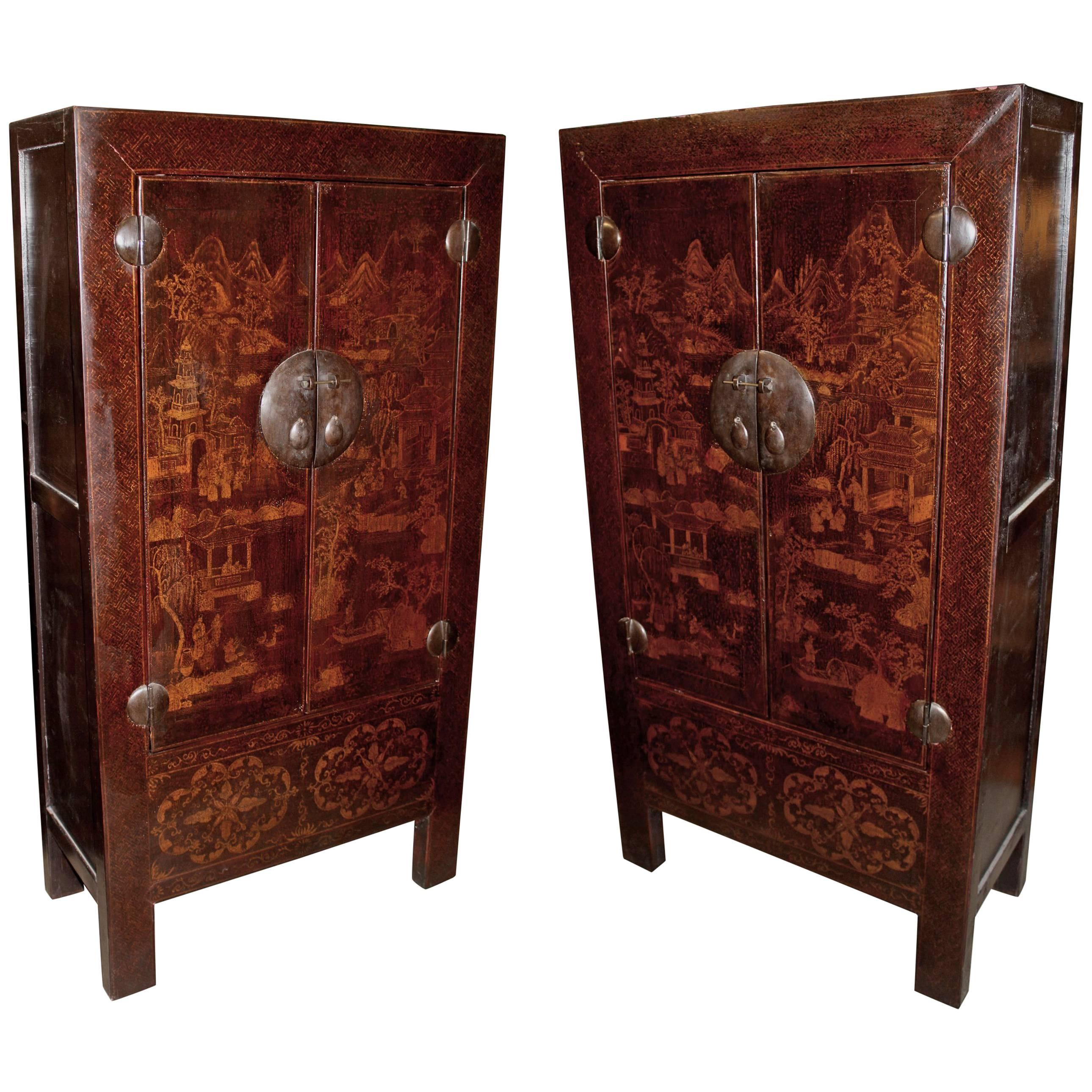 Pair Of Late 19th Century Chinese Elmwood Cabinets For Sale