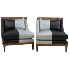 Club Chairs Pair, Hollywood Regency, Walnut and Silk