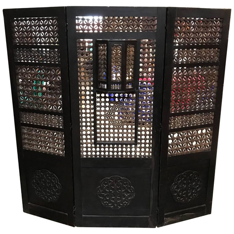 19th Century Moroccan Wood Screen For Sale
