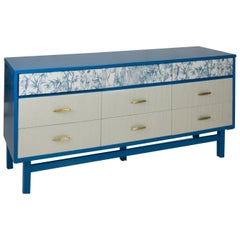 Vintage Sideboard in Blue Lacquer and Funky Wallcover