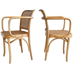 1960s Pair of Josef Hoffmann 811 Prague Chairs with Bentwood Arms and Cane