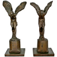 Art Deco Pair of Bronze Sculptures Spirit of Ecstasy Charles Sykes Rolls Royce