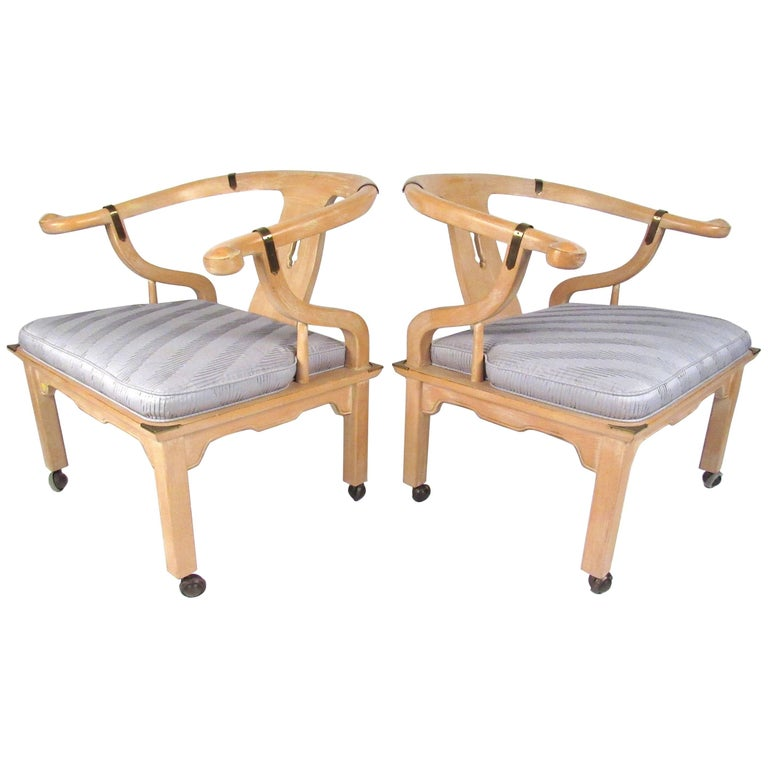 Set of Midcentury Chinoiserie Style Lounge Chairs by Century Chair Company