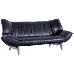 Leolux Tango Designer Leather Sofa Black Three-Seat Couch Function Metal