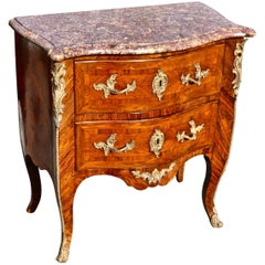 Period 18th Century Kingwood Marble-Top Louis XV Commode, Signed Saunier