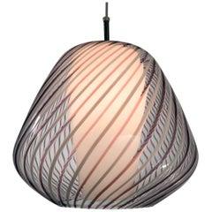 Murano Lattichino Glass Pendant Light circa 1950 for  Lightolier