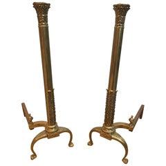 Brass Column Andirons