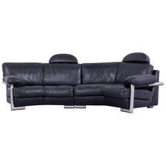 Artanova Medea Designer Black Leather Sofa Back Rest Made in Switzerland