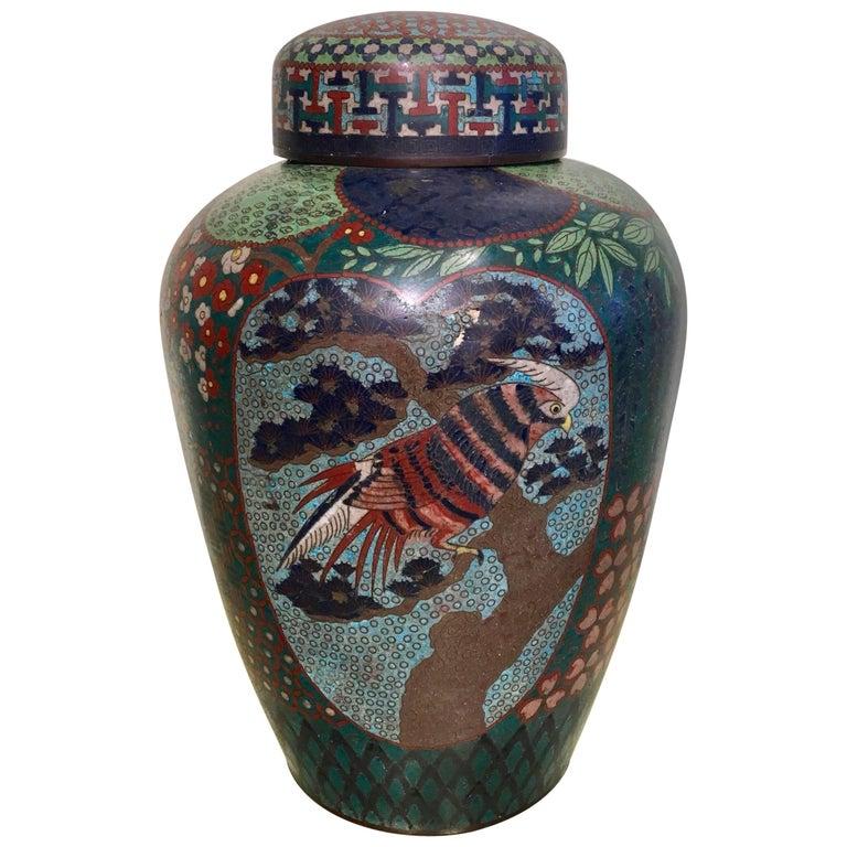 19th Century Japanese Cloisonné Lidded Jar For Sale
