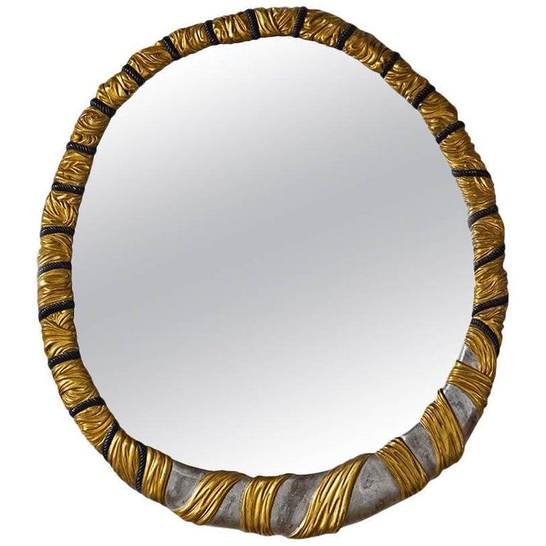 Arte Moderen Style Oblong Mirror Finished in 22-Karat Gold