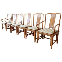 Baker Furniture Chinoiserie Hollywood Regency Ming Dining Chairs, Set of Six