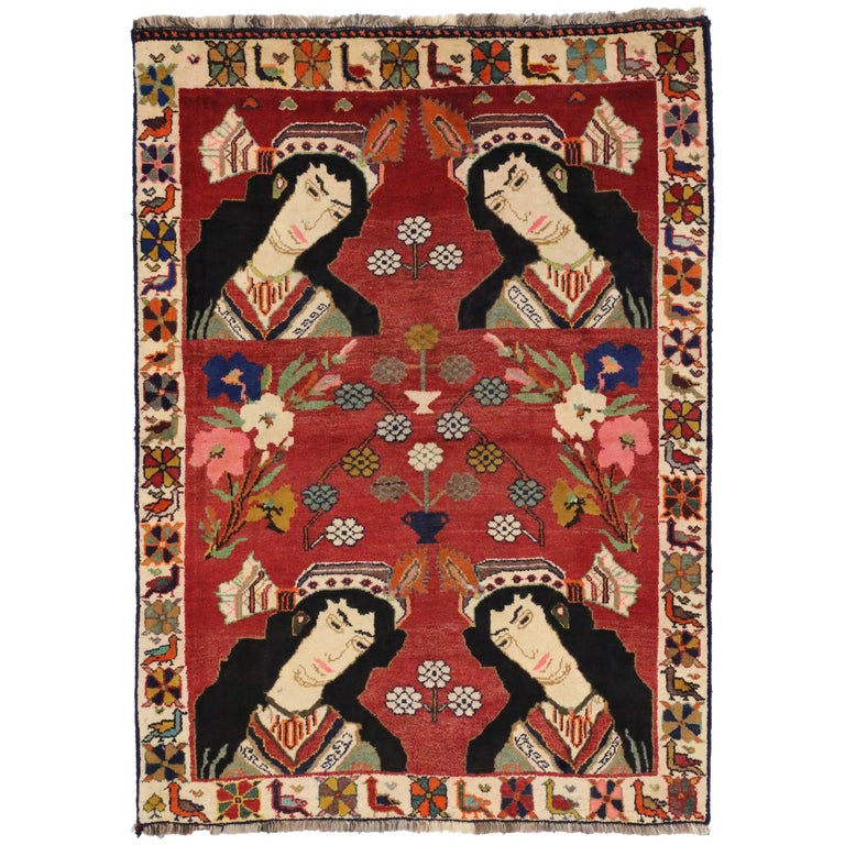 Vintage Persian Shiraz Pictorial Rug, Wall Hanging, Persian Tapestry