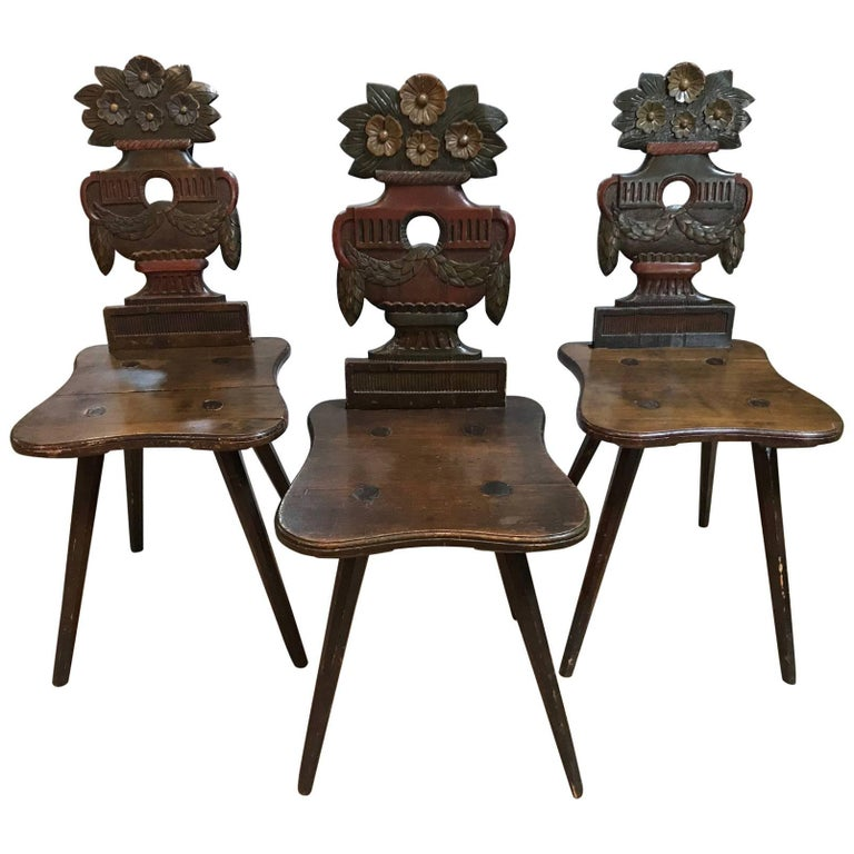 Antique Swiss Carved Wood Chairs For Sale At 1stdibs