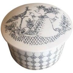Small Ceramic Lidded Box / Dresser Jar by Bjorn Wiinblad for Nymolle of Denmark