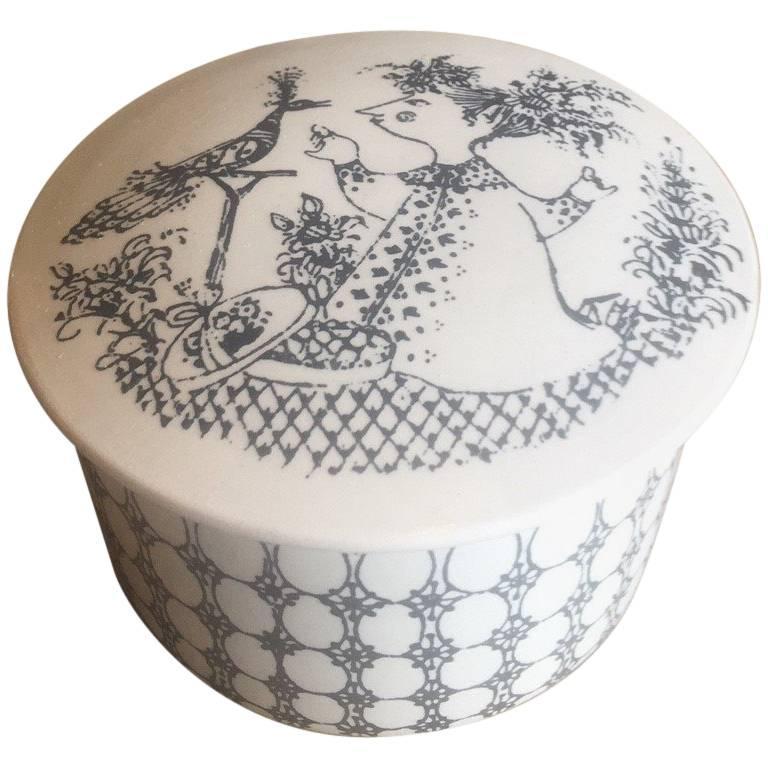 Small Ceramic Lidded Box / Dresser Jar by Bjorn Wiinblad for Nymolle of Denmark For Sale
